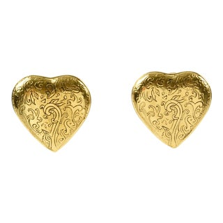 Yves Saint Laurent Paris Clip on Earrings Gilt Metal Heart For Sale