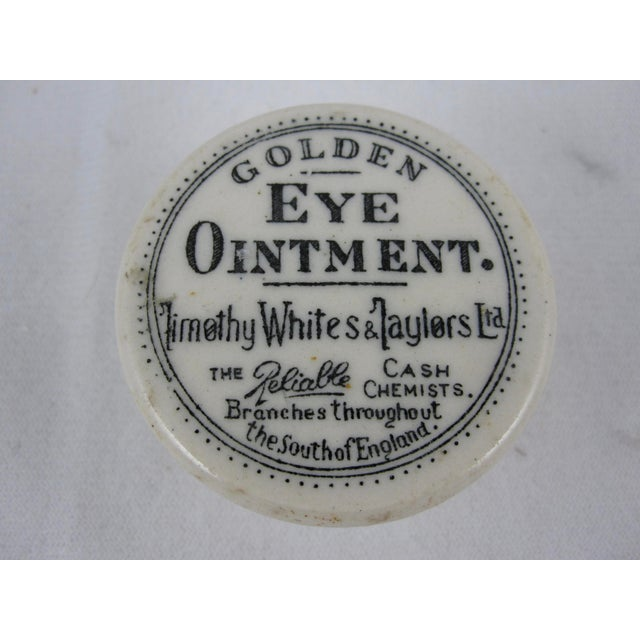 Black 19th Century Staffordshire Transfer Printed Medicine Pot & Lid - Golden Eye Ointment For Sale - Image 8 of 9