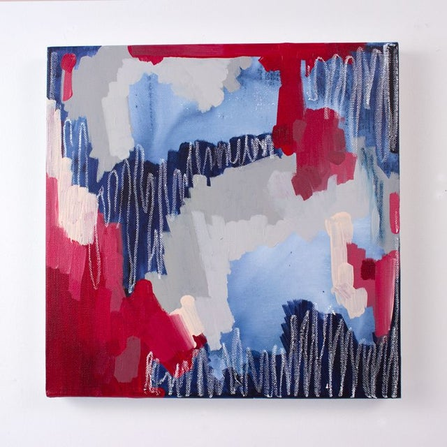 """Linda Colletta """"Rouge Et Bleu I"""" Abstract Painting - Image 2 of 3"""