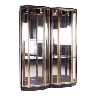 Mid Century Henredon Black & Brass Display Cabinets - Pair For Sale