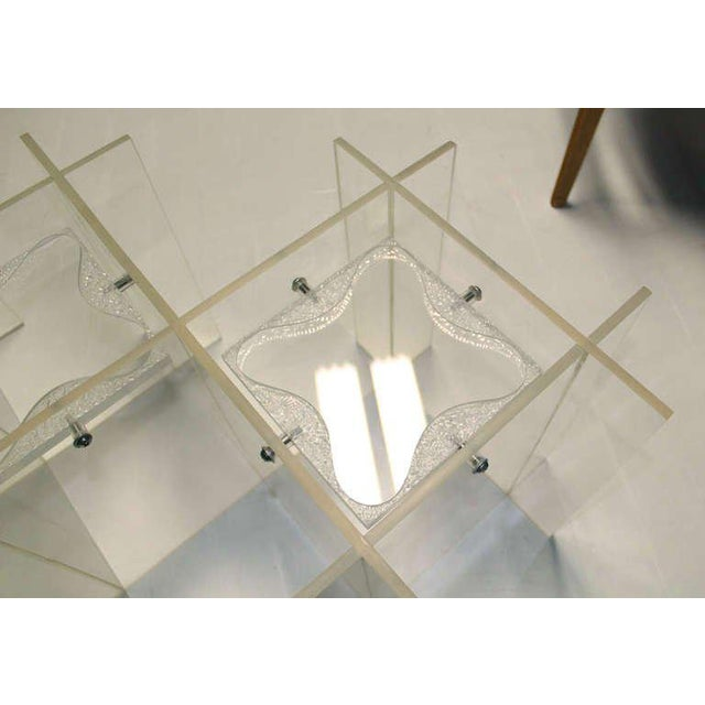 Transparent Mid-Century Modern Lucite & Glass Coffee Table For Sale - Image 8 of 10
