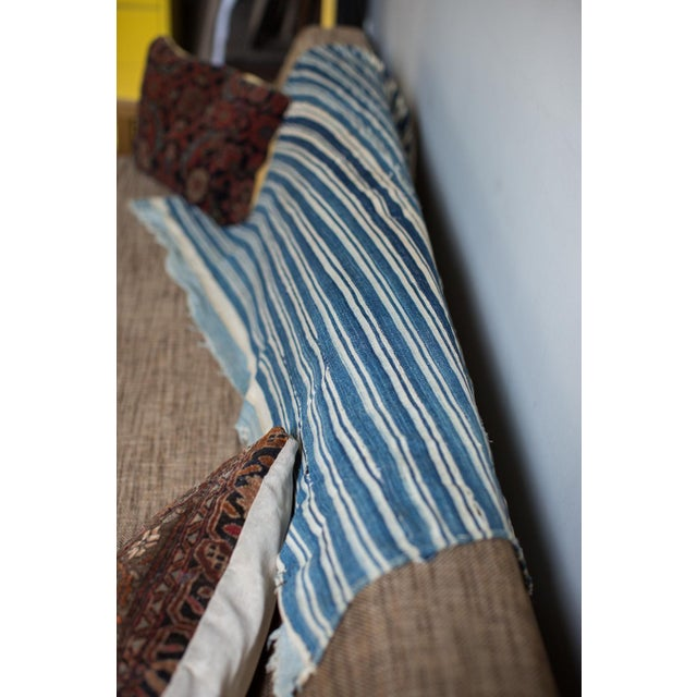 Vintage Hand Woven Indigo Stripe Throw For Sale - Image 4 of 7