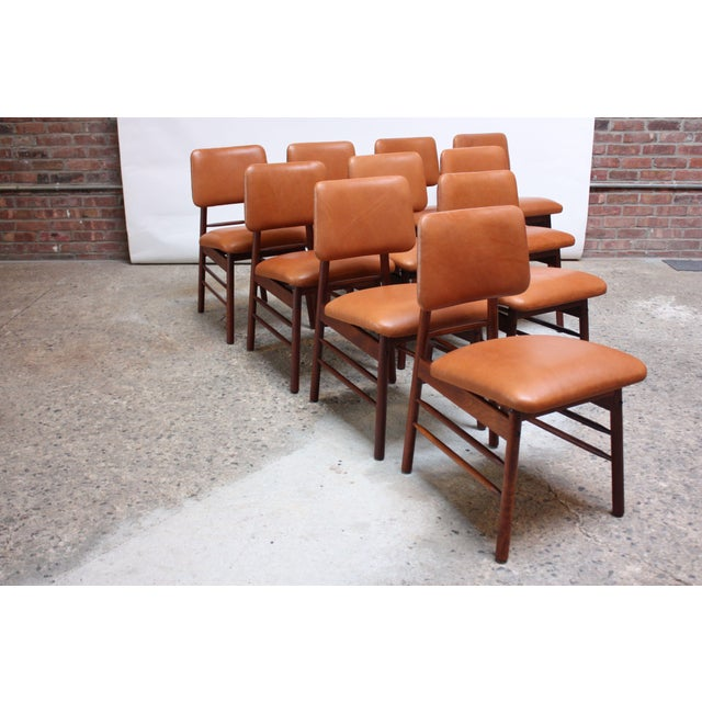 Set of Ten Walnut and Leather Dining Chairs by Greta Grossman For Sale - Image 13 of 13