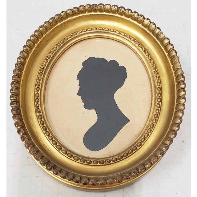 Black 19th Century Silhouette Portrait of a Young Woman For Sale - Image 8 of 8