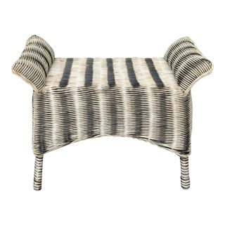 Antique Zebra Rattan Stool