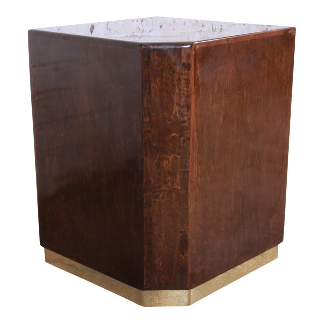 Milo Baughman for Thayer Coggin Maple and Brass Cube Side Table For Sale