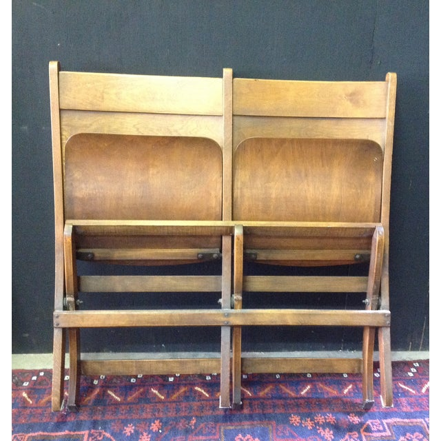 Vintage Wooden Theatre Seats - Image 6 of 6