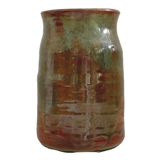 Vintage Mid-Century Modern Vintage Rust Red and Muted Sage Glazed Vessel For Sale