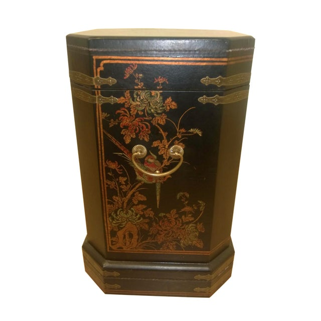 Asian Motif Painted Wood Umbrella Stand - Image 1 of 10