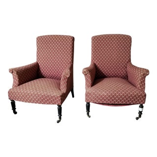 Antique Patterned Club Chairs - A Pair For Sale