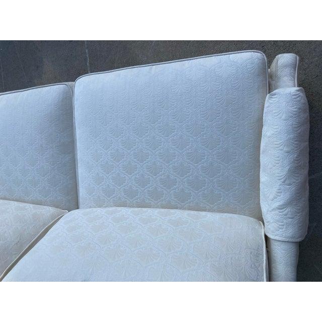 Mid-Century White Tuxedo Skirted Sofa For Sale - Image 11 of 13