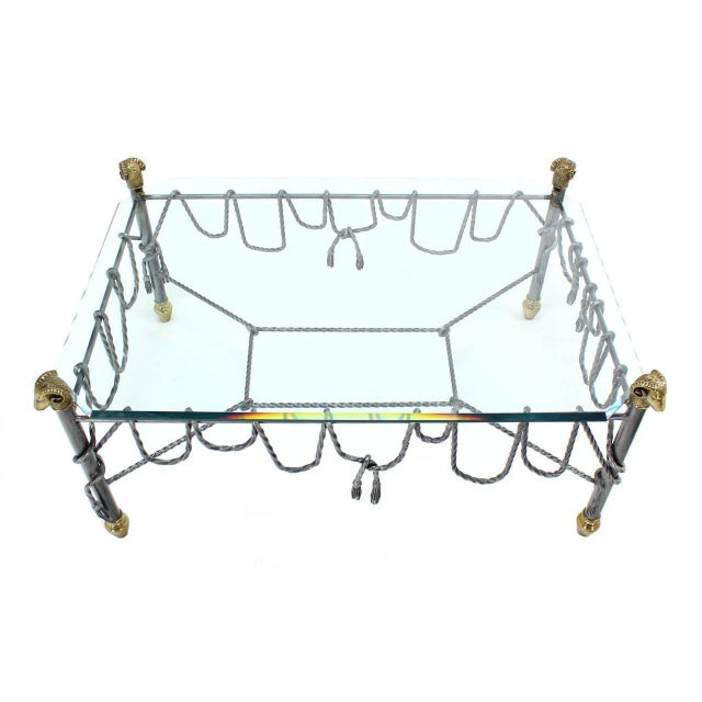 Silver Ornate Wrought Iron Brass and Glass Coffee Table For Sale - Image 8 of 8
