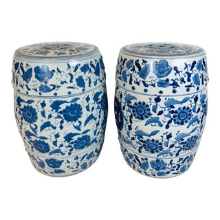 Early 20th Century Modern Hand Made Floral Blue and White Porcelain Garden Stools - a Pair For Sale