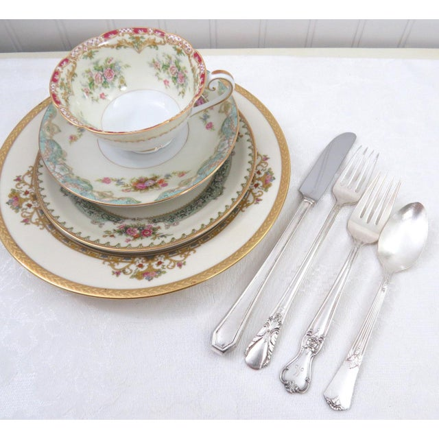 Vintage Mismatched Fine China & Silverware - Set of 32 - Image 7 of 11