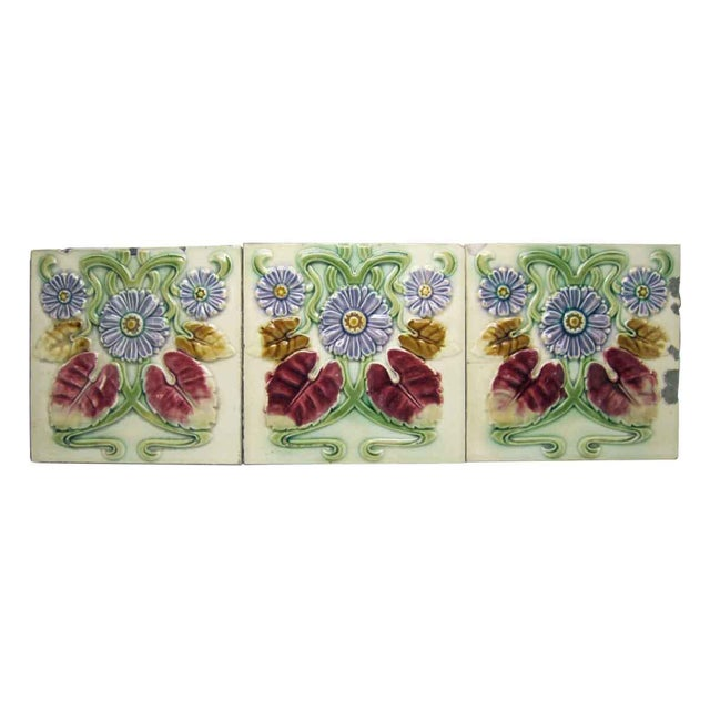 Ceramic Floral Decorative Colorful Art Nouveau Tiles - Set of 15 For Sale - Image 7 of 10