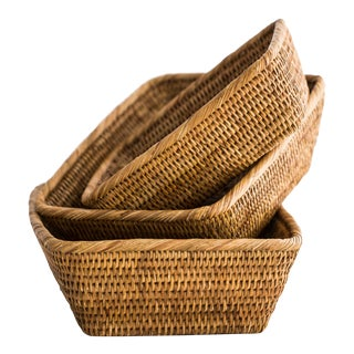 Artifacts Rattan 3 Piece Basket Set - Set of 3 For Sale