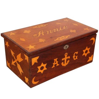 Antique Inlaid Sailor Box For Sale