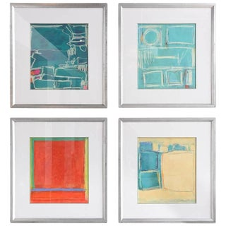 Group of four Abstract Oil, Acrylic and Crayon on Paper, Doreen Noar For Sale