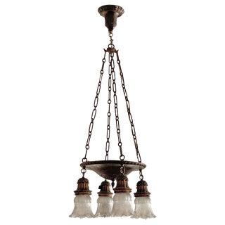 4-Bulb Suspended Cast Metal Pan Chandelier For Sale