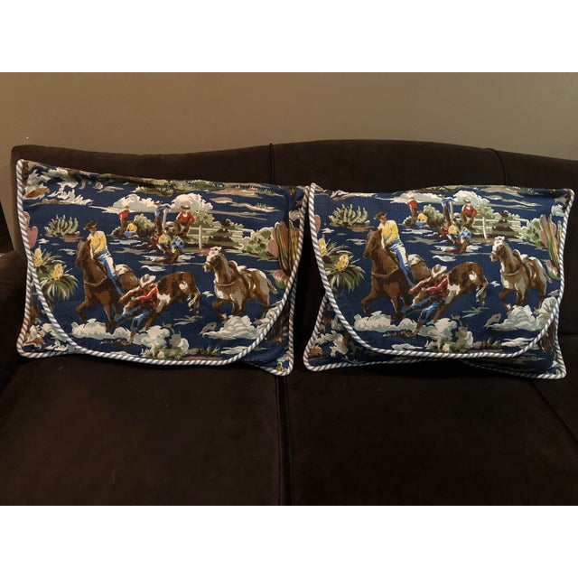 1950s Bloomcraft Cowboy Western Barkcloth Custom Pillowcases - A Pair For Sale - Image 5 of 5