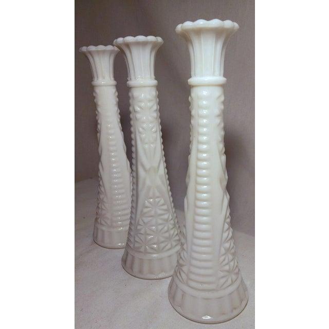 Mid Century Carved Milk Glass Bud Vases Set Of 3 Chairish