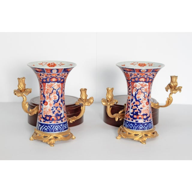 Pair of 19th Century Ormolu Mounted Imari Vases With Mahogany and Marble Stands For Sale In Dallas - Image 6 of 12