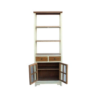 Oriental Cream White Brown Glass Door China Bookcase Cabinet Preview