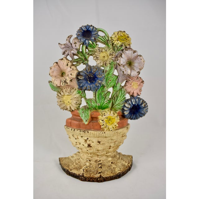 1930s Hubley Cast Iron Basket of Flowers Doorstop For Sale - Image 10 of 10