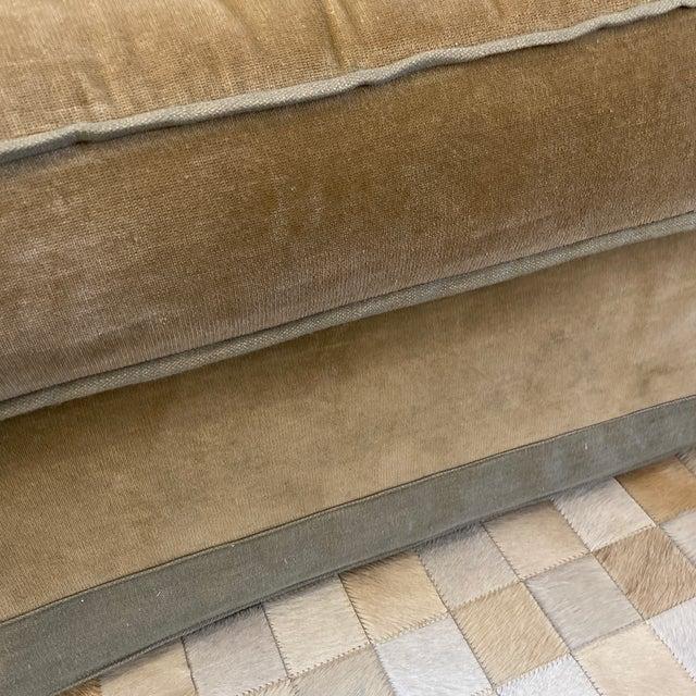 Linen Baker Furniture Custom Velvet + Linen Trimmed Loveseat For Sale - Image 8 of 12