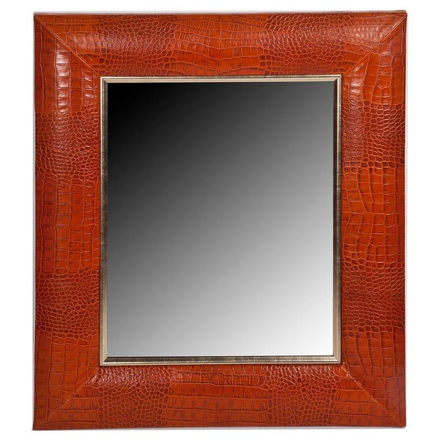 KLASP Home Cognac Classic Crocodile Leather Framed Mirror For Sale - Image 4 of 4