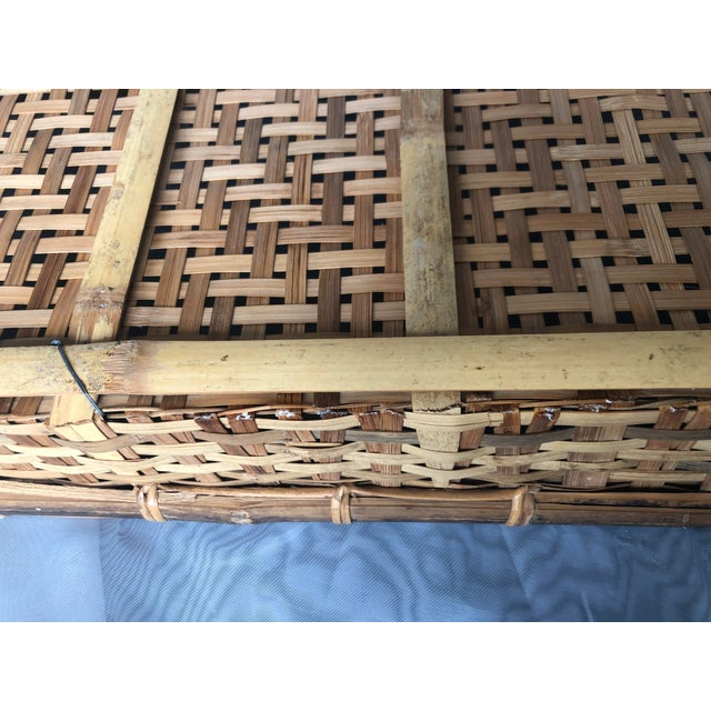 Late 20th Century Large Woven Bamboo Tray Basket For Sale - Image 11 of 13