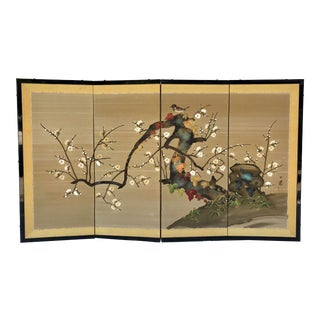 Vintage Asian Hand-Painted Folding Screen For Sale