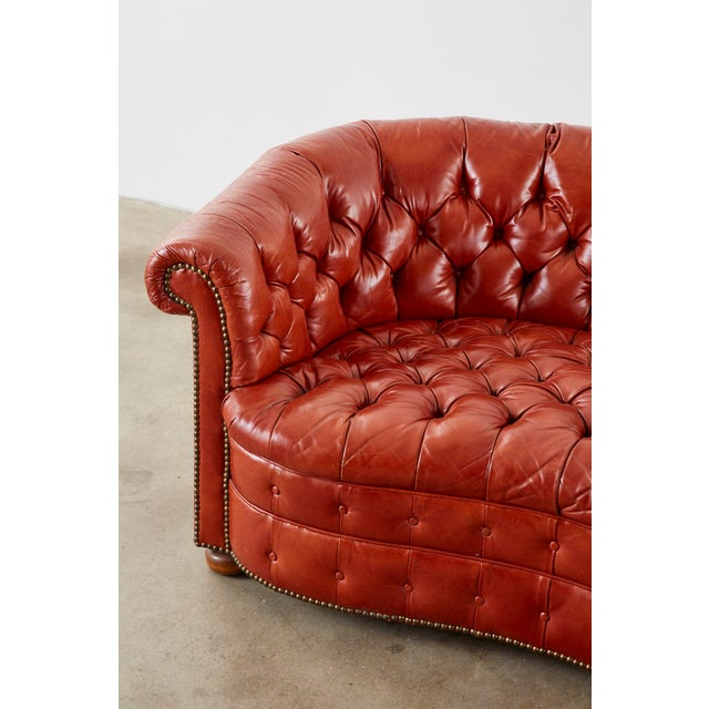 Midcentury English Chesterfield Style Kidney Bean Leather Settee For Sale - Image 4 of 13
