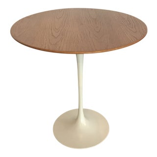 1950s Mid-Century Modern Knoll Wood Top Tulip Side Table