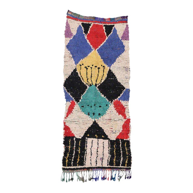 Mid-Century Modern Berber Moroccan Rug with Boho Chic Tribal Style For Sale