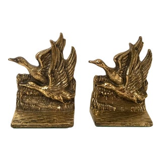 Vintage Brass Flying Duck Bookends - a Pair For Sale
