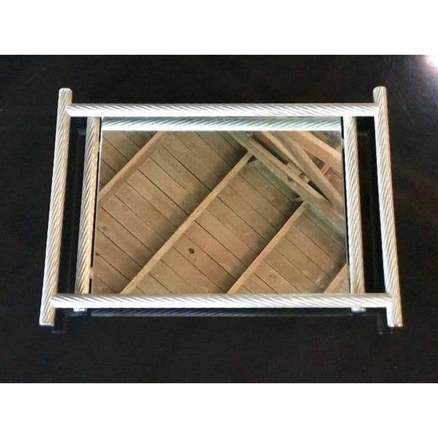 Glass Italian Rectangular Tray with Spiral Silver Frame, 1960s For Sale - Image 7 of 8