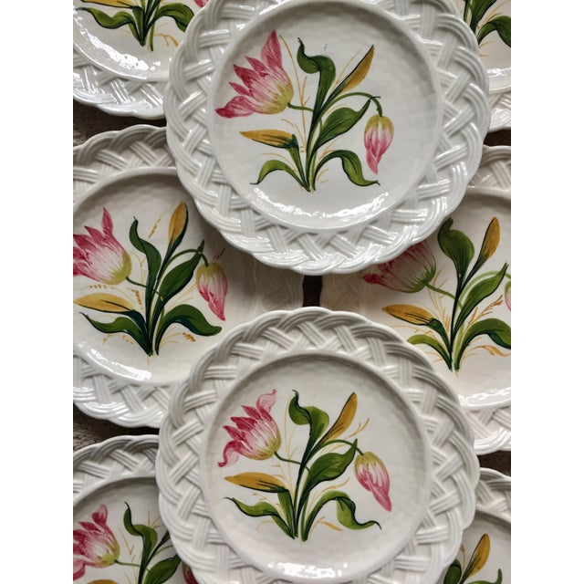 Italian Faience Hand-Painted Tulip Plates-Set 8 For Sale - Image 9 of 13