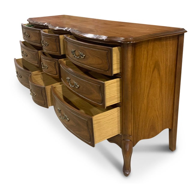 Broyhill Vintage French Provincial 9 Drawer Dresser by Broyhill For Sale - Image 4 of 13