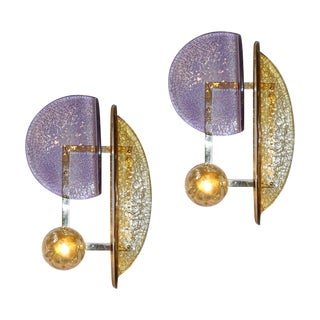 Contemporary Italian Amber and Amethyst Murano Glass Gold Brass Sconces - a Pair For Sale