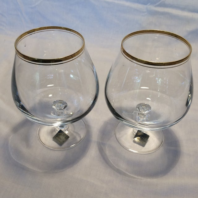 Crystal Gold Rim Brandy Snifters by Mikasa West Germany - a Pair - Image 11 of 11