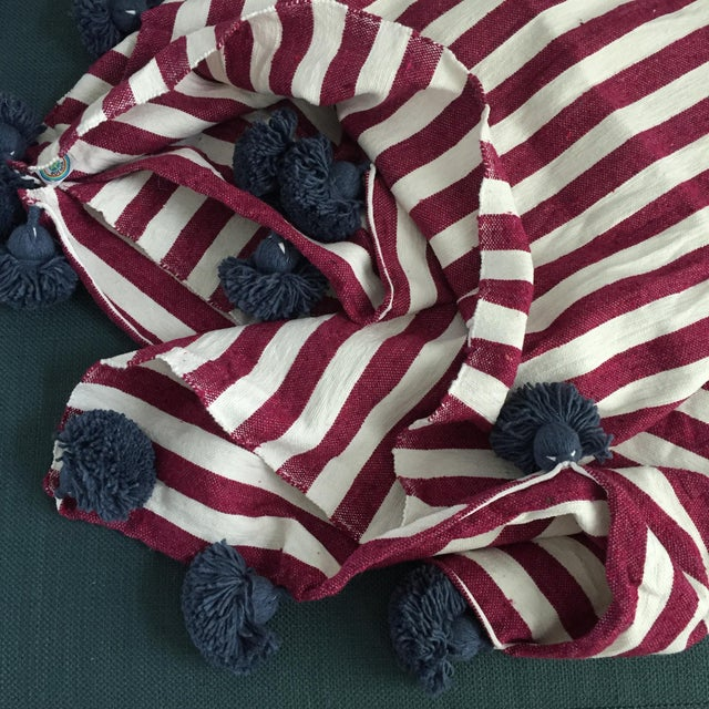 Raspberry White Chambray Pompom Throw For Sale - Image 4 of 5
