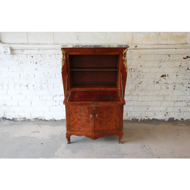 Late 19th Century 19th Century French Inlaid Marquetry Marble Top Abattant Secretaire For Sale - Image 5 of 13