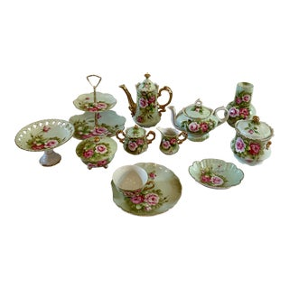 Antique 1940s Green and Pink Lefton China - 33 Piece Set For Sale