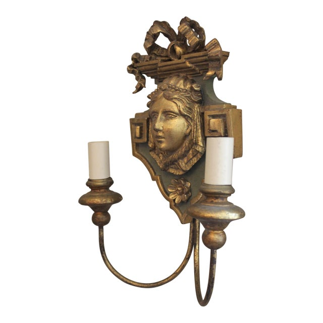 20th Century Neoclassical Wooden Double-Arm Sconce For Sale