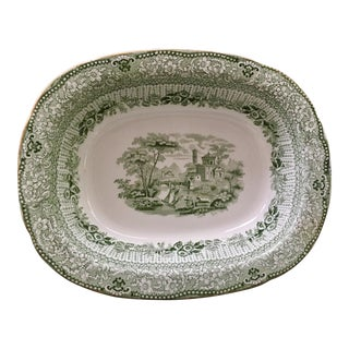 Ridgway Green & White Transferware Serving Dish with Gold Trim For Sale