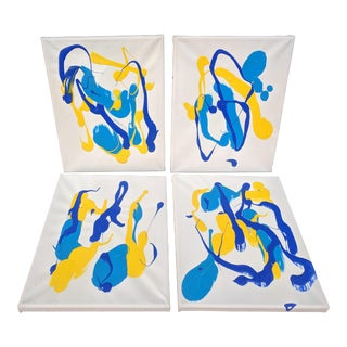 Set of 4- Abstract Drip Acrylic Paintings on Canvas For Sale