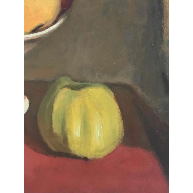 Still Life Oil Painting on Canvas of Fruit Bowl From France Circa 1900 For Sale - Image 4 of 5