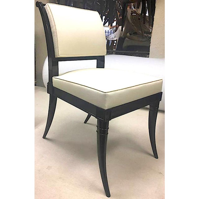Hollywood Regency Maison Jansen Chicest Black Neoclassic Exceptional Set of Eight Dinning Chairs For Sale - Image 3 of 8