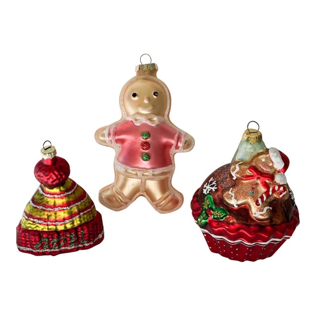 Gingerbread Man Ornaments, Set of 3 For Sale